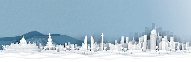 Vista panorâmica da indonésia e o horizonte da cidade com monumentos famosos do mundo