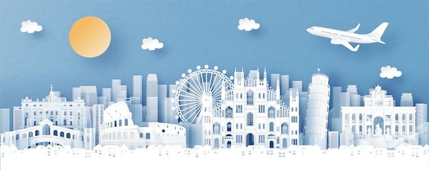 Vista panorâmica da itália e o horizonte da cidade com monumentos famosos do mundo