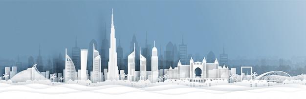 Vista panorâmica de dubai e o horizonte da cidade com monumentos famosos do mundo em estilo de corte de papel
