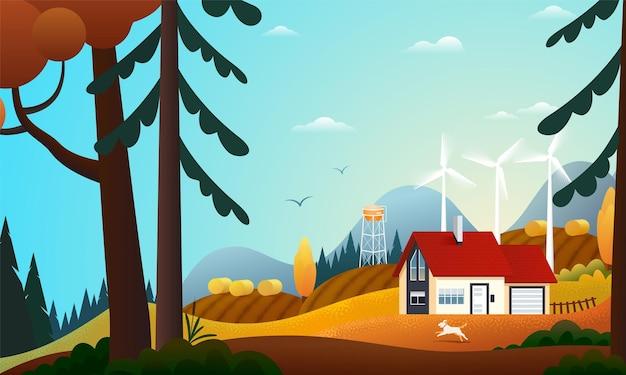 Vista panorâmica de uma casa de campo na floresta de outono com turbinas eólicas