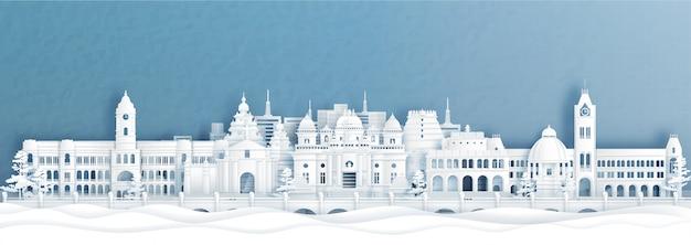 Vista panorâmica do horizonte de chennai com monumentos mundialmente famosos da índia em ilustração do estilo de corte de papel.