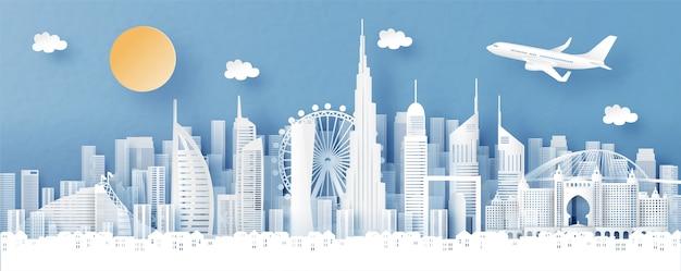 Vista panorâmica do horizonte de dubai e cidade com monumentos famosos do mundo