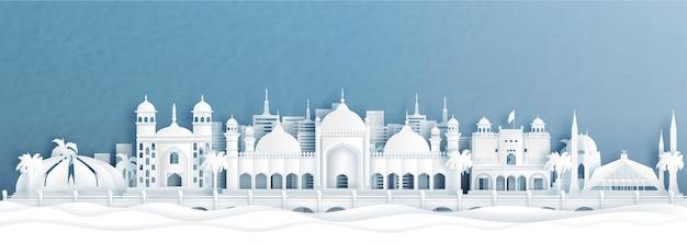 Vista panorâmica do horizonte de islamabad, paquistão, com monumentos mundialmente famosos na ilustração do estilo de corte de papel.