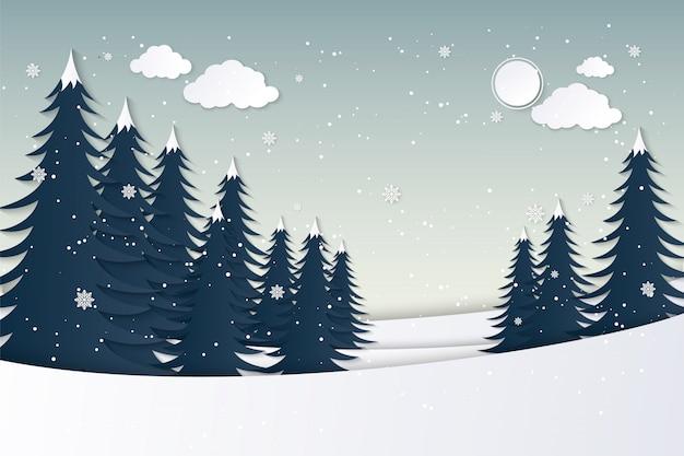 Vista para a casa no inverno. papel de arte e artesanato