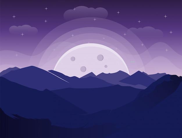 Vista para a montanha à noite com a silhueta da lua