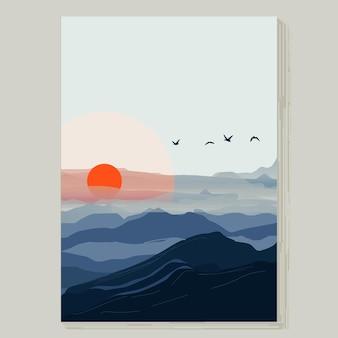 Vista para a montanha com ilustração do pôr do sol para pôster, pronto para imprimir