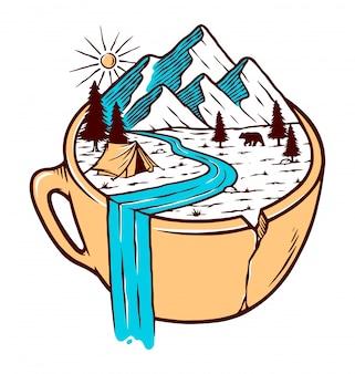 Vista para a montanha em uma ilustração de xícara