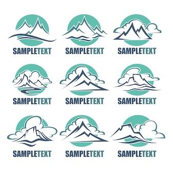Vista para a montanha, logotipo de picos altos