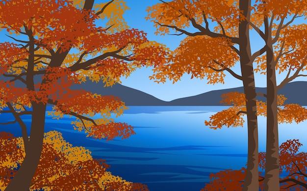 Vista para o lago com árvores