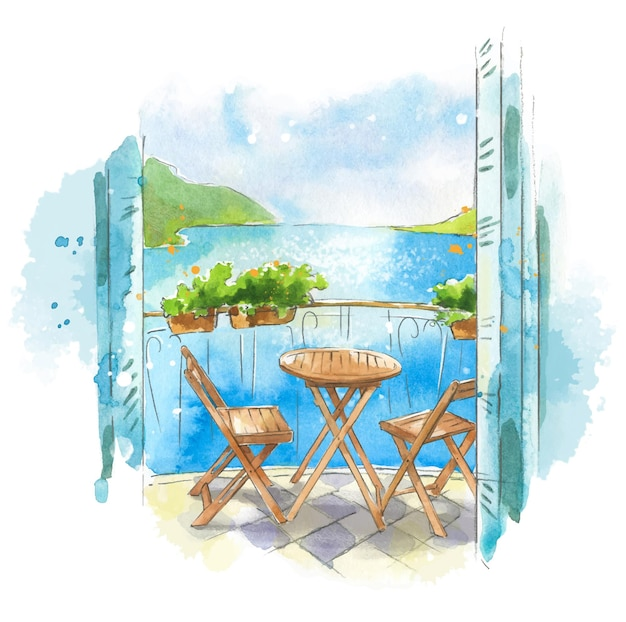 Vista para o mar da varanda à beira-mar ilustração em aquarela