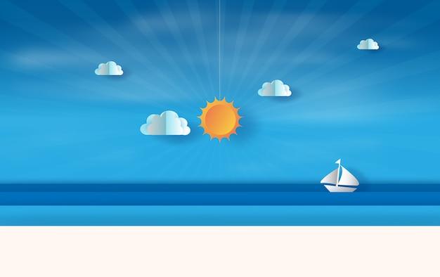 Vista para o mar de verão com pôr do sol