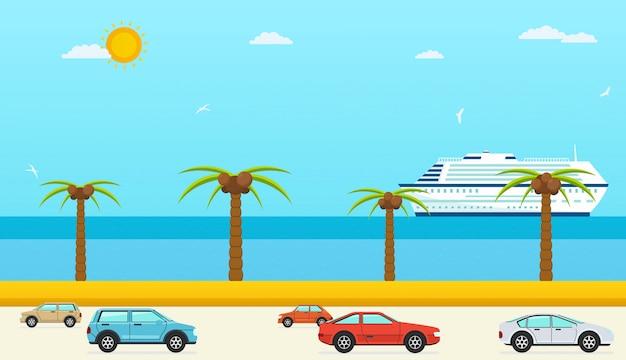 Vista para o mar no verão, rodovia com carros