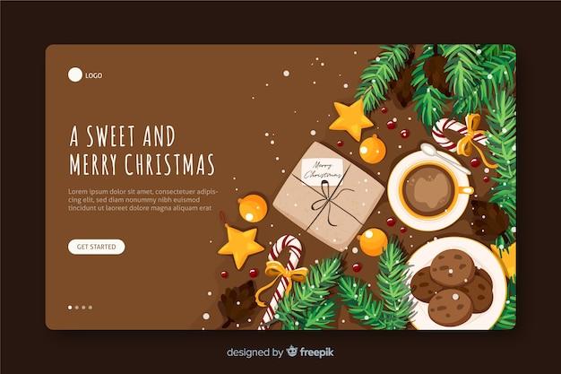 Vista superior alegre página de destino de cookies de natal