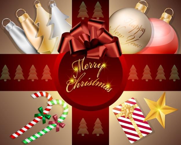 Vista superior bolas de natal decorações e acessórios