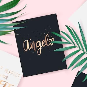 Vista superior com cartão. mão de anjo desenhado letras frase.