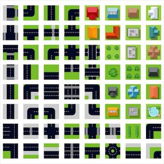 Vista superior conjunto de ícones
