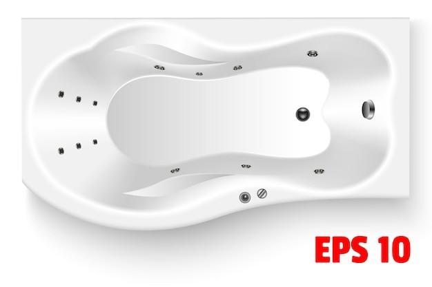 Vista superior curva retangular da banheira branca bolha do encanamento de cerâmica