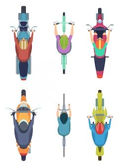 Vista superior da bicicleta. ciclismo pessoas motos tráfego moto na coleção dos desenhos animados de estrada