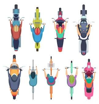 Vista superior da bicicleta. pessoas dirigindo bicicleta em motociclistas capacete ciclomotor e ilustrações de tráfego de estrada de ciclo