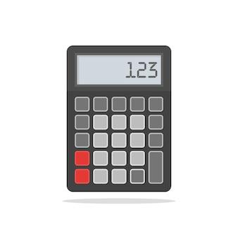 Vista superior da calculadora preta. ilustração vetorial em branco