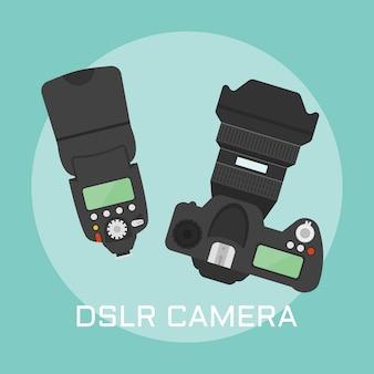 Vista superior da câmera fotográfica profissional dslr e ilustração colorida do flash da câmera