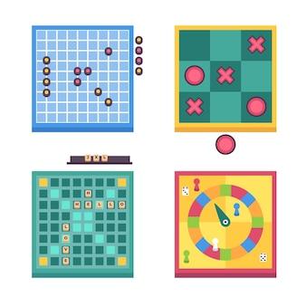 Vista superior da coleção da sociedade de jogos de tabuleiro