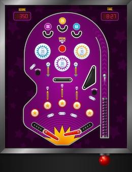 Vista superior da composição de pinball violeta e desenhos animados com elementos eletrônicos