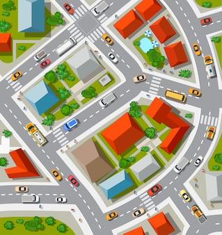 Vista superior da encruzilhada urbana com carros e casas