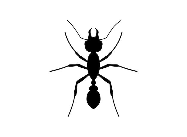 Vista superior da formiga da silhueta. molde do logotipo da formiga. símbolo do inseto. ilustração vetorial