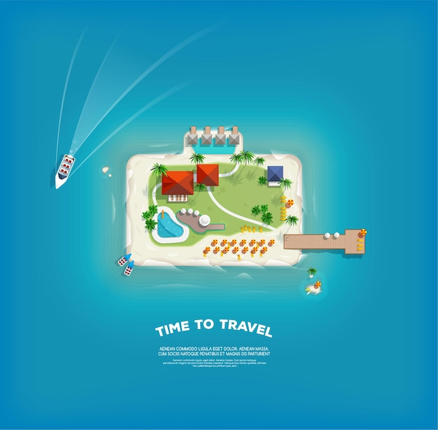 Vista superior da ilha em forma de mala. cartaz de tempo para viagens e férias. viagem de férias. viagem e turismo.