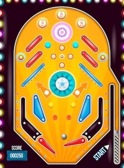 Vista superior da máquina de pinball com estilo vintage.