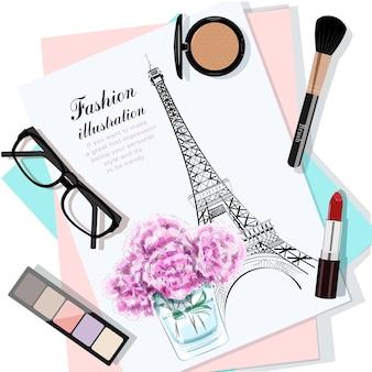 Vista superior da mesa com flores, papéis, desenho, óculos e cosméticos.