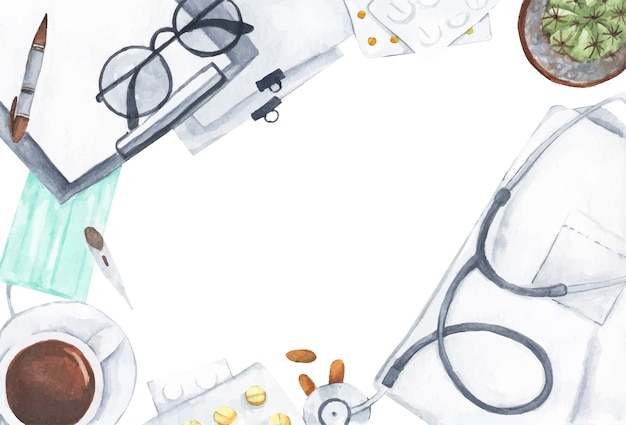 Vista superior da mesa da secretária do médico com estetoscópio e material de escritório. ilustração em aquarela.