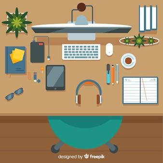 Vista superior da mesa de escritório moderna com design plano