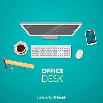 Vista superior da mesa de escritório profissional com design plano