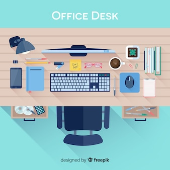 Vista superior da mesa de escritório profissional