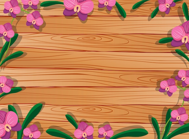 Vista superior da mesa de madeira em branco com folhas e elementos de orquídeas cor de rosa