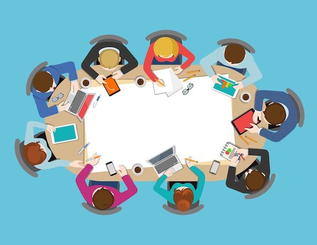 Vista superior da mesa do escritório reunião de negócios plana web infográfico conceito