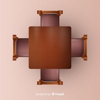 Vista superior da mesa do restaurante com design realista