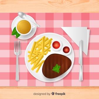 Vista superior da mesa do restaurante elegante com design realista