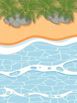 Vista superior da paisagem de areia e ondas do mar
