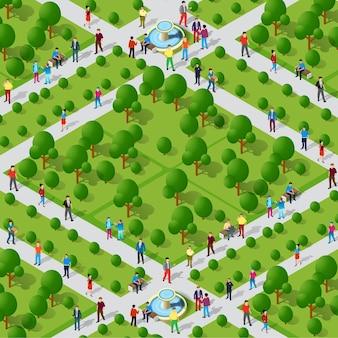Vista superior da paisagem do parque da cidade, projeção isométrica em 3d com pessoas e árvores