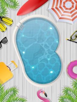 Vista superior da piscina redonda