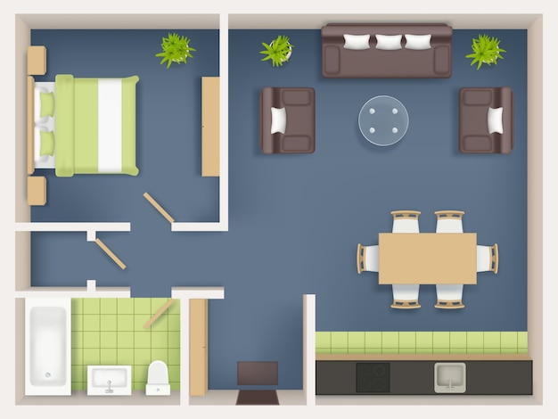 Vista superior da planta interna. apartamento realista sala de estar banheiro mobília de quarto mau mesa guarda-roupa sofá cadeiras mesas realistas. ilustração da vista superior do interior, planta da sala de estar