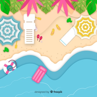 Vista superior da praia em estilo de papel