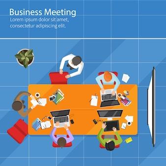 Vista superior da reunião de negócios