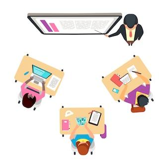 Vista superior da sala de aula com estudantes internacionais. conceito de vetor estudando adulto