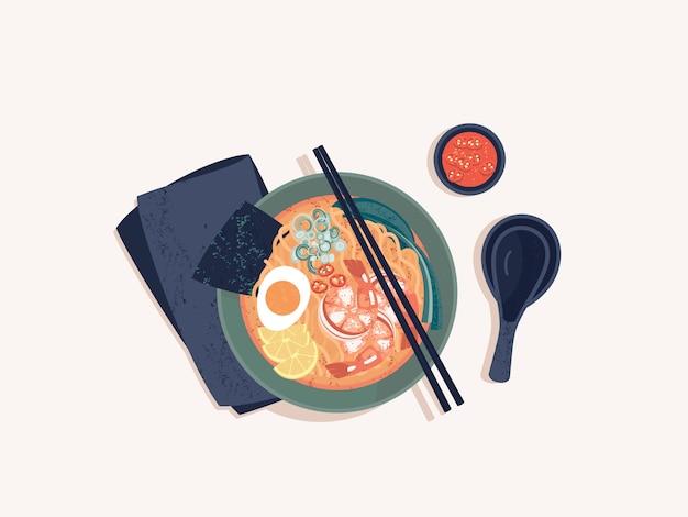 Vista superior da tigela de macarrão ramen japonês com camarões