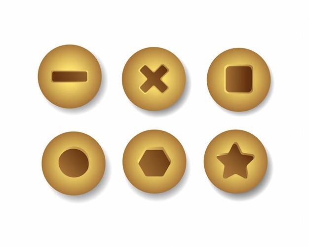 Vista superior da variação do ícone de cabeça de parafuso de ouro ou bronze definir ilustração realista