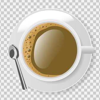 Vista superior da xícara de café branco com prato e colher em transparente